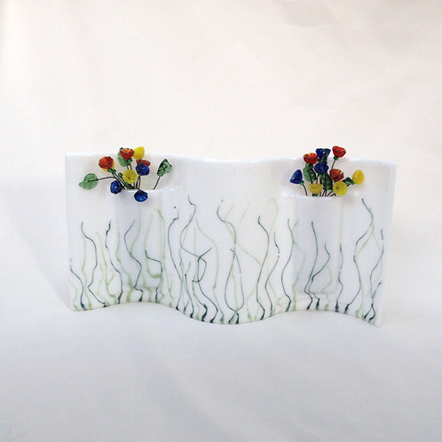 White Wavy Vase with Multi-colored Lampwork Flowers