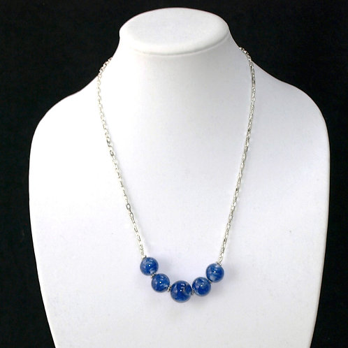 Variegated Blue and Silver Lampwork Bead Necklace