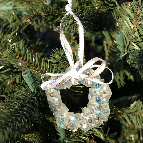Sugar Cookie Inspired Glass Wreath Ornament - Blue