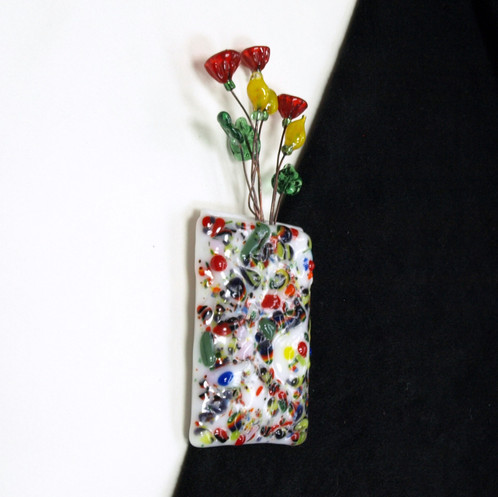 Magnetic Wall Pocket Vase Multi Colored With Flowers