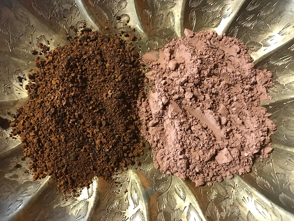 Our locally foraged Chaga is a rich rust & the Cacao Powder is a finely ground!