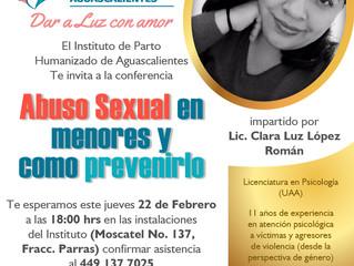 CONFERENCIA SOBRE ABUSO SEXUAL EN MENORES Y COMO PREVENIRLO