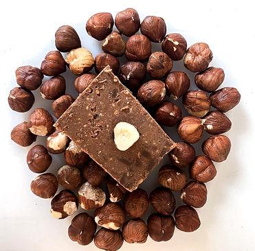 Nougat blanc gianduja, chocolat, noisette