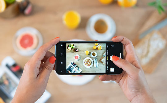 flatlay telephone portable brunch