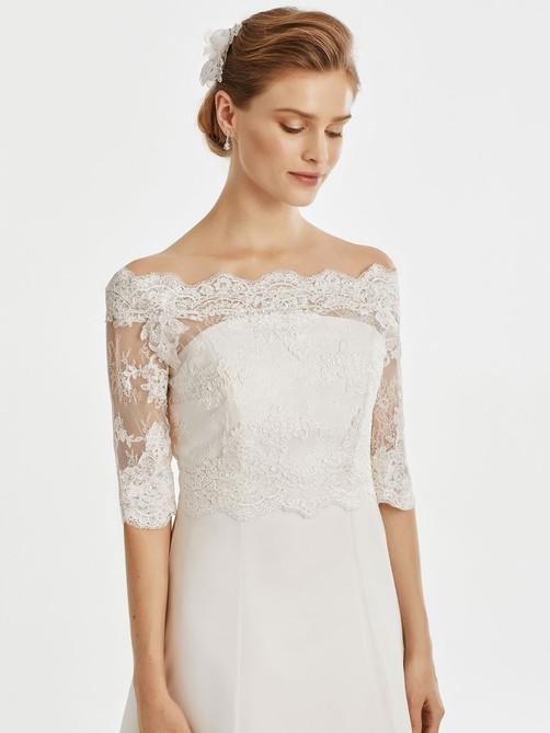off the shoulder lace bridal jacket