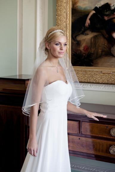 Elbow length ribbon veil 'Valerie'