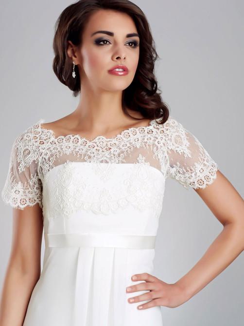 short sleeve bridal lace jacket