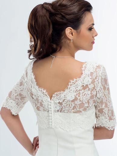 V-neck lace bridal jacket