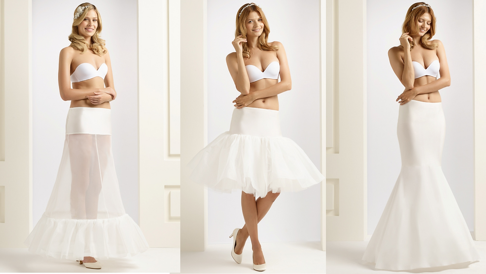 Three different types of wedding underskirt: A-line, short and ruffled and mermaid/fishtail