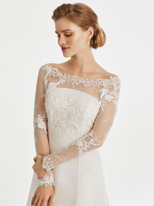 guipure lace bridal jacket with long sleeves