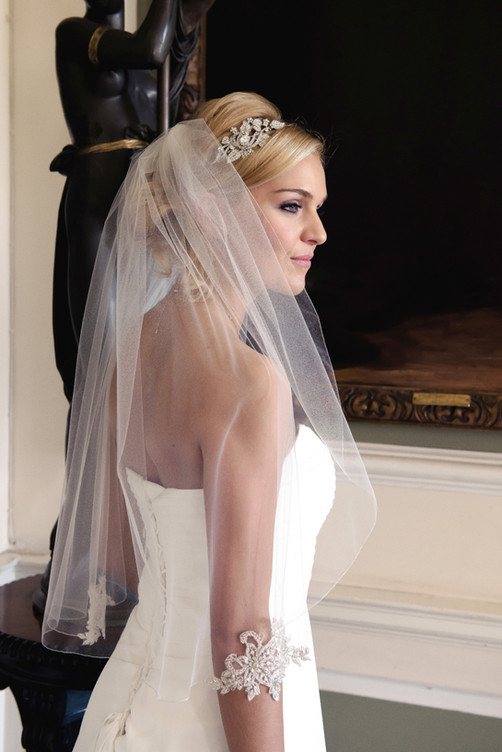 Waist length veil with silver lace appliques
