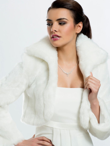 Faux fur bridal jacket