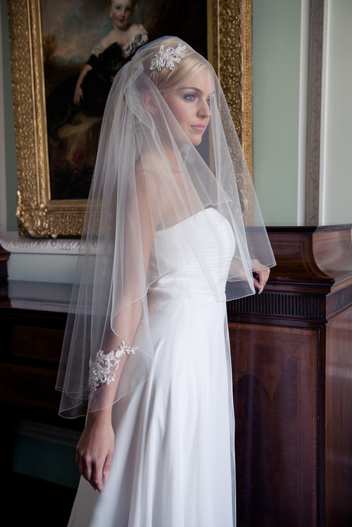 Hip length veil with lace appliques