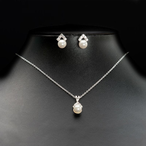pearl bridal necklace set