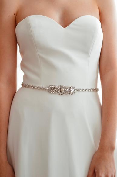 Narrow diamante bridal belt 'PBB1020'
