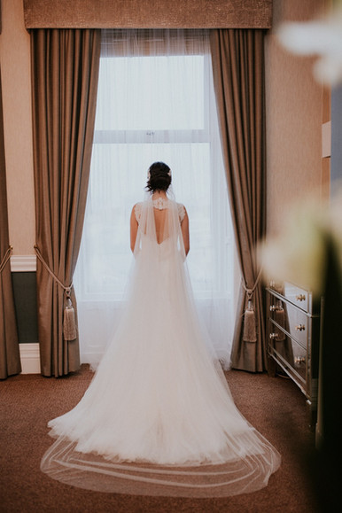 Silk effect drape veil 'Diana'