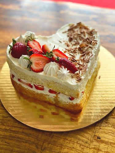 Heart and Strawberry Cream Cake