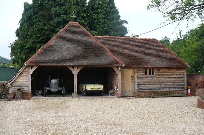 Oak Frame Garage & Workshop by Hewnwood