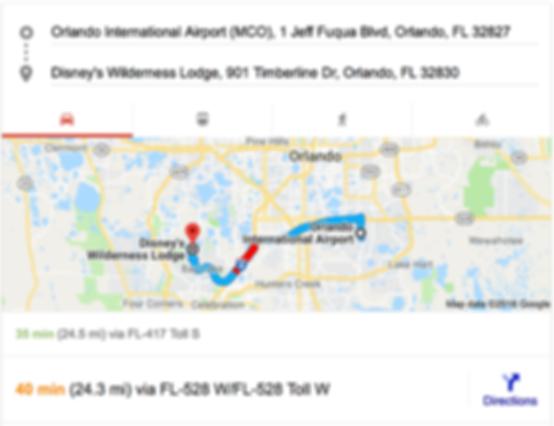 ORLANDO AIRPORT MCO TO DISNEY'S WILDERNESS LODGE