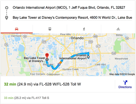 ORLANDO AIRPORT MCO TO BAY LAKE TOWER AT DISNEY'S CONTEMPORARY RESORT