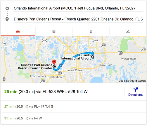 ORLANDO AIRPORT MCO TO DISNEY'S PORT ORLEANS RESORT - FRENCH QUARTER