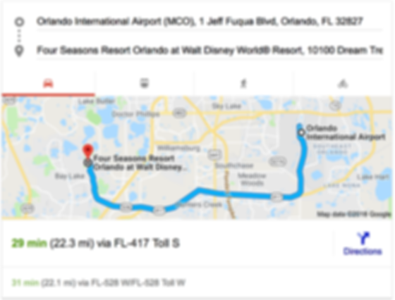 ORLANDO AIRPORT MCO TO FOUR SEASONS RESORT ORLANDO AT WALT DISNEY WORLD® RESORT