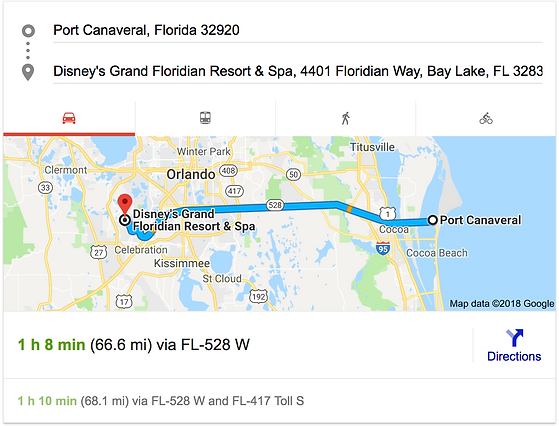 TRANSPORTATION FROM PORT CANAVERAL TO DISNEY'S CORONADO SPRINGS RESORT