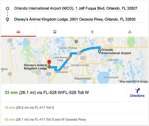 ORLANDO AIRPORT MCO TO DISNEY'S ANIMAL KINGDOM LODGE
