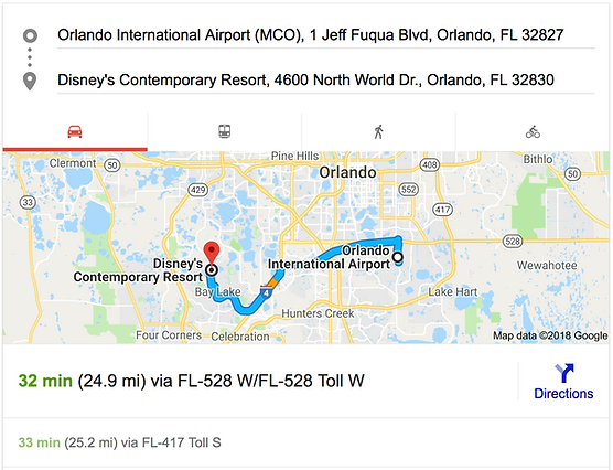 ORLANDO AIRPORT MCO TO DISNEY'S CONTEMPORARY RESORT