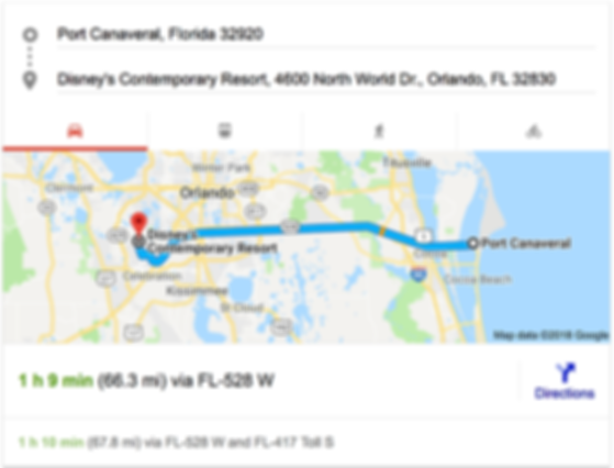 TRANSPORTATION FROM PORT CANAVERAL TO DISNEY'S CONTEMPORARY RESORT