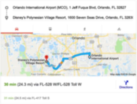 ORLANDO AIRPORT MCO TO DISNEY'S POLYNESIAN VILLAGE RESORT