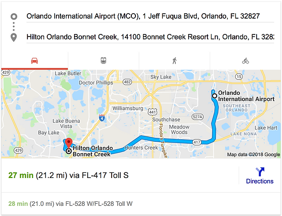 ORLANDO AIRPORT MCO TO HILTON ORLANDO BONNET CREEK
