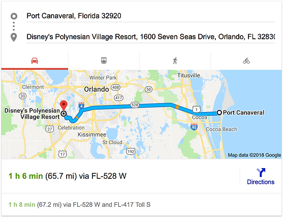 TRANSPORTATION FROM PORT CANAVERAL TO DISNEY'S POLYNESIAN VILLAGE RESORT