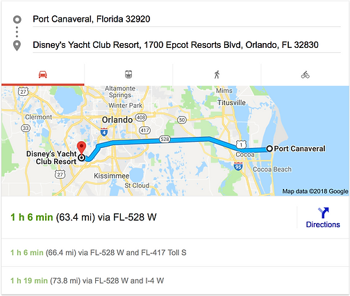 TRANSPORTATION FROM PORT CANAVERAL TO DISNEY'S YACHT CLUB RESORT