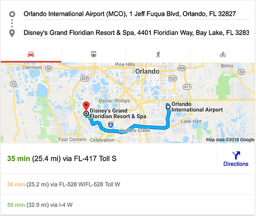 ORLANDO AIRPORT MCO TO DISNEY'S GRAND FLORIDIAN RESORT
