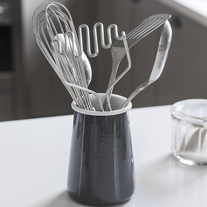 ENAMEL UTENSIL HOLDER - CHARCOAL