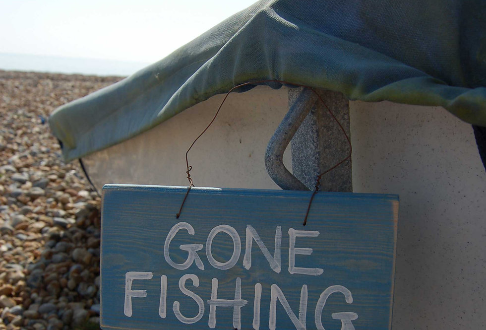 HANDMADE GONE FISHING SIGN