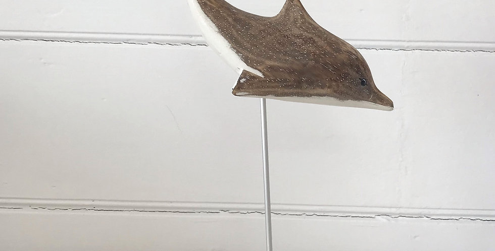 HAND CARVED DIVING DOLPHIN