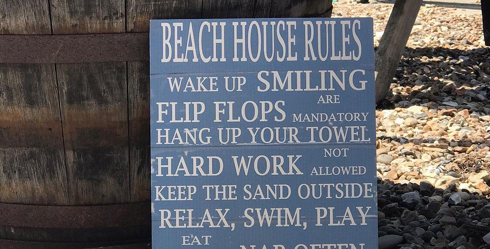 BEACH HOUSE RULES SIGN