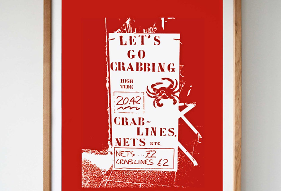 LET'S GO CRABBING SCREEN PRINT - RED