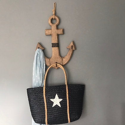 WOODEN ANCHOR WALL HANGING HOOKS