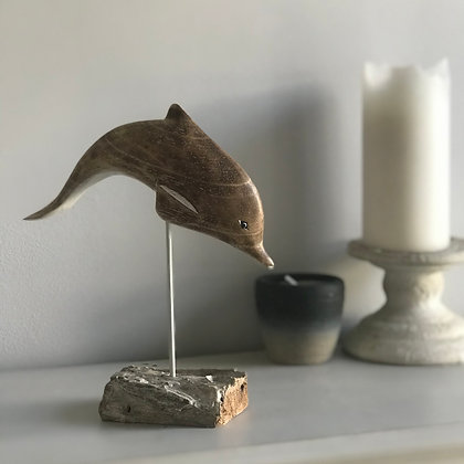 HAND CARVED LEAPING DOLPHIN