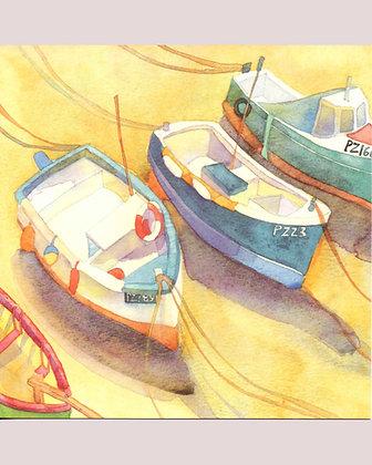 BOATS AT NEWLYN CARD BY EMMA BALL