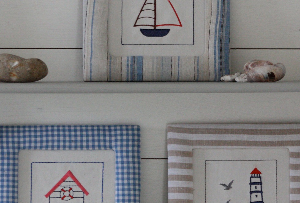 EMBROIDERED SEASIDE PICTURES