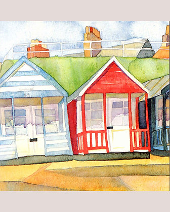 BEACH HUTS AT SOUTHWOLD CARD BY EMMA BALL