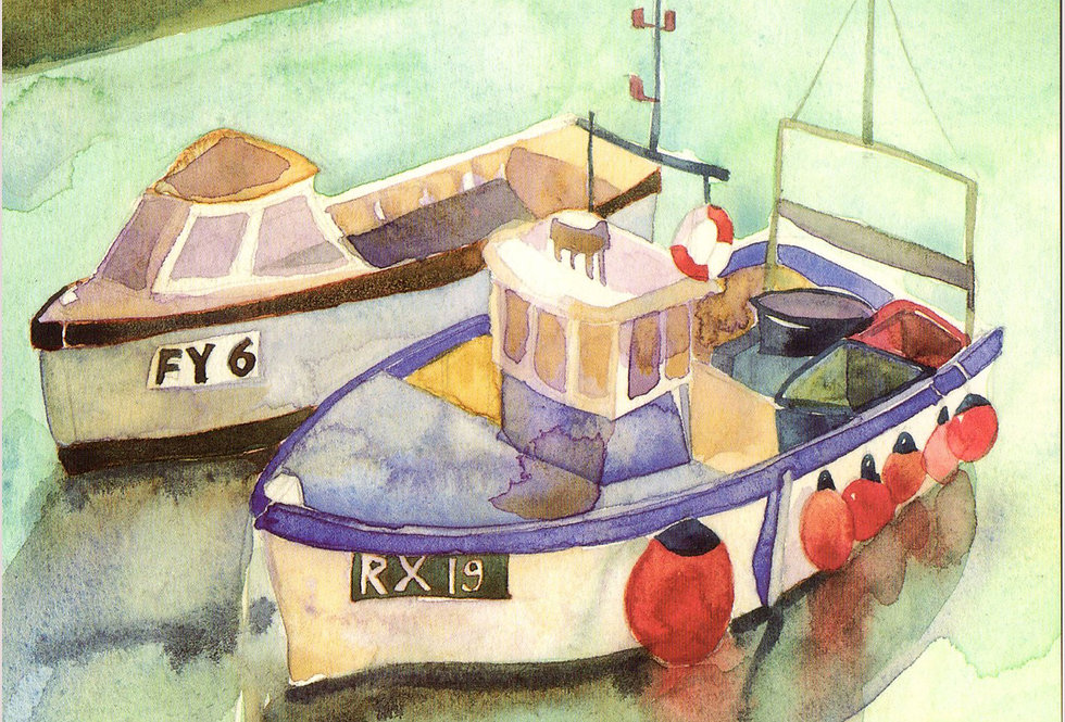 BOATS AT MEVAGISSEY CARD BY EMMA BALL