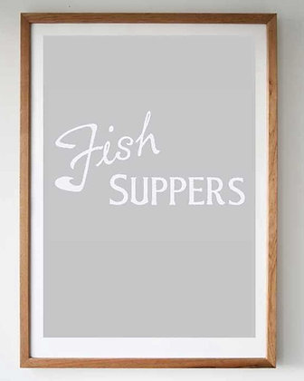 FISH SUPPERS SCREEN PRINT - GREY
