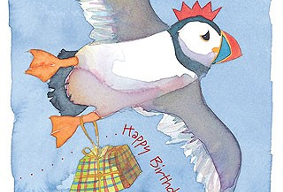 HAPPY BIRTHDAY PUFFIN CARD BY EMMA BALL
