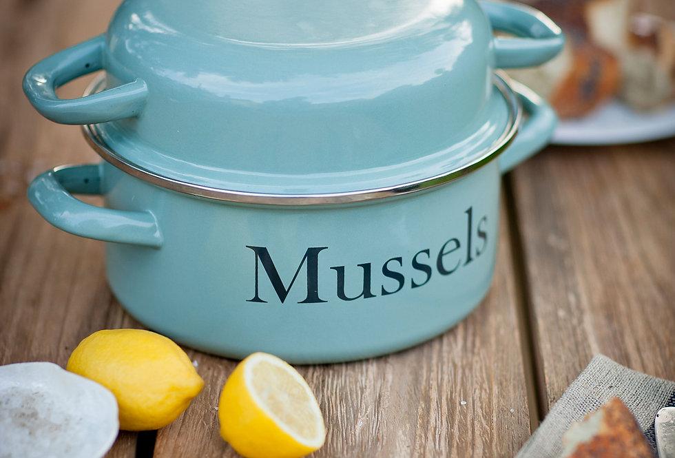 ENAMEL MUSSEL POT - SHUTTER BLUE