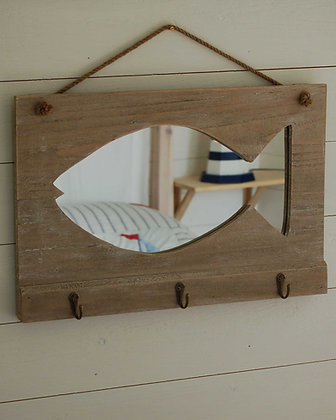 FISH MIRROR WITH HOOKS